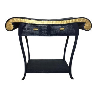 Antique Asian Bamboo and Rattan Console in Midnight Blue For Sale