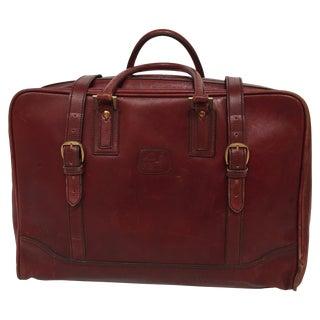 """Vintage Leather Travel Bag """"La Bagagerie Paris"""" Burgundy Bordeaux Luggage 1970 For Sale"""