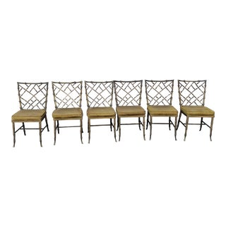 1970s Vintage Kessler Aluminum Bamboo Chippendale Chairs - Set of 6