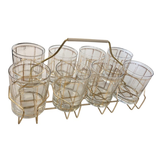 Vintage George Briard Gold Tone Rocks Glass Set With Caddy - 8 Pieces For Sale
