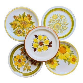 Vintage 1960's Mismatched Yellow and Green Floral Dinner Plates - Set of 5 For Sale