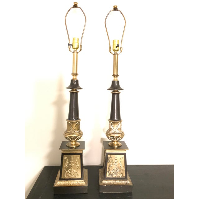 Brass Hollywood Regency Neoclassical Style Brass and Black Lamps - a Pair For Sale - Image 7 of 7