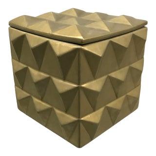 Vintage Geometric Lidded Ceramic Box For Sale