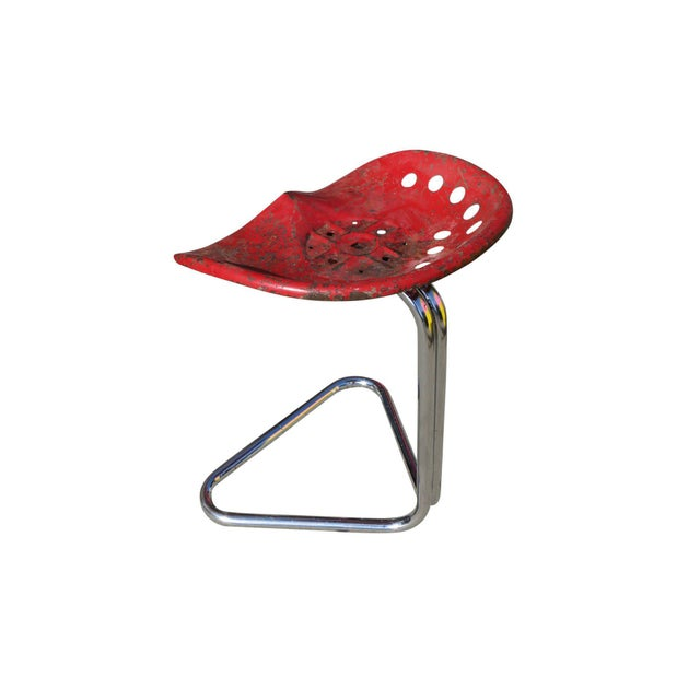 "1970s Rare Red Rodney Kinsman ""T7 Tractor"" Outdoor/Patio Stool for Omk For Sale - Image 5 of 6"