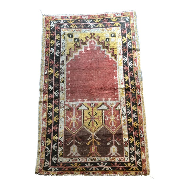Antique Turkish Wool Prayer Rug For Sale