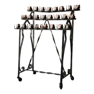 Wrought Iron Devotional Votive Holder For Sale