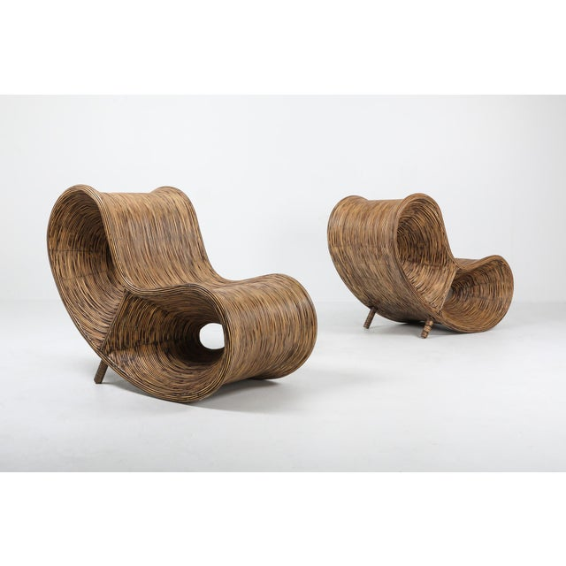 Hollywood Regency 1980s Bamboo Rattan Lounge Chairs, Italy - a Pair For Sale - Image 3 of 13