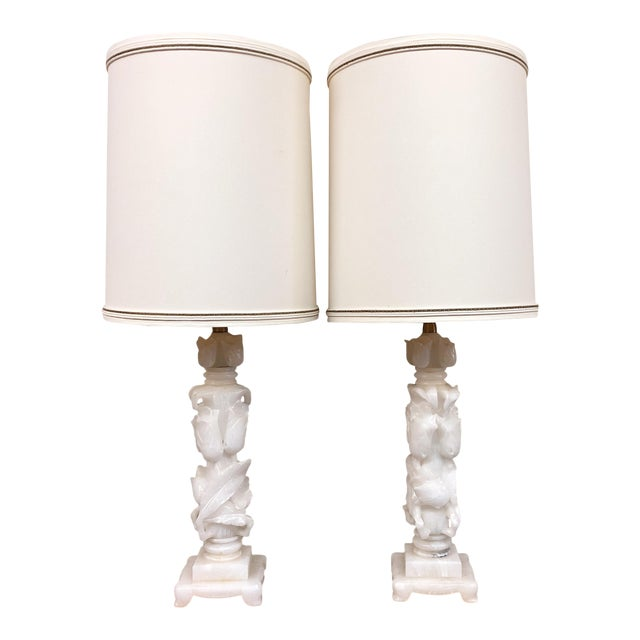 Marbro Company Vintage Alabaster Table Lamps - a Pair For Sale
