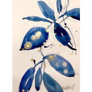 Blue Grass 3, Original Watercolor Painting With Gold. For Sale