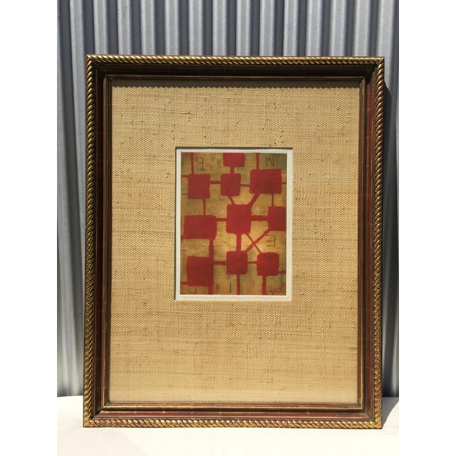 Abstract Red & Beige Mixed Media Lithograph by Robert Kelly For Sale - Image 3 of 3