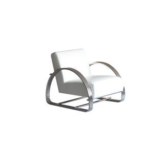 Modern Pasargad Home Concord White Lounge Chair For Sale