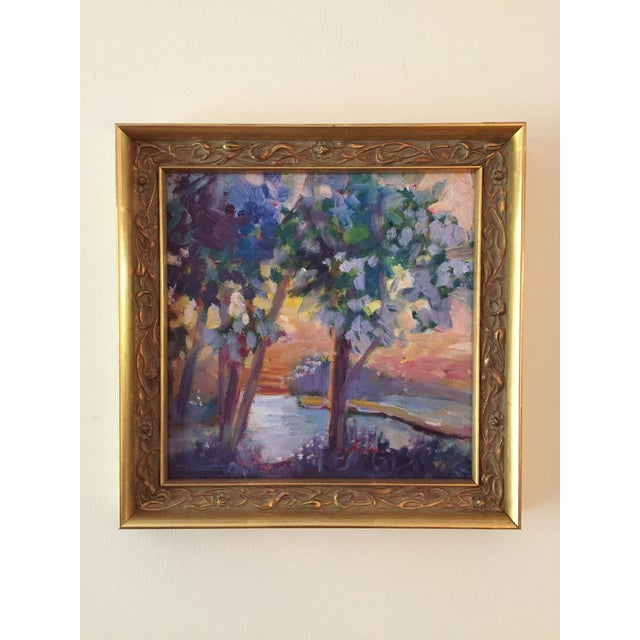 """Wood """"Pond in Golden Light"""" Contemporary Expressionist Style Plein Air Landscape Oil Painting by Marina Movshina, Framed For Sale - Image 7 of 9"""