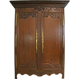 Armoire Antique French Country Farmhouse 1900 For Sale