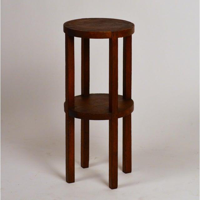 Wood Slender American Arts & Crafts Oak Sellette Side Table For Sale - Image 7 of 7