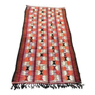 1960s Vintage Turkish Nomadic Wool Hand-Knotted Kilim Rug - 3′ × 6′7″ For Sale