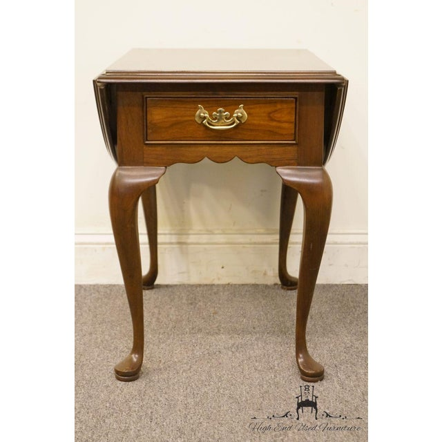Queen Anne 20th Century Queen Anne Cherry Wood Drop-Leaf End Table For Sale - Image 3 of 13
