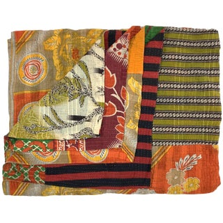 Emerald and Tangerine Rug & Relic Kantha Quilt