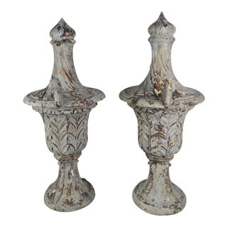 Pair ofScale Carved Wood Painted Flamed Finial Urns For Sale
