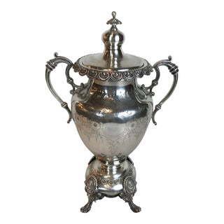 Sheffield Style Hand Chased Floral Silver Plated Hot Urn / Samovar For Sale