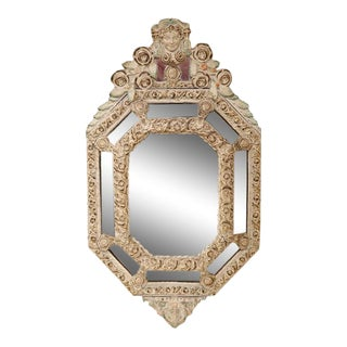19th Century French Hand-Painted Octagonal Repousse Tole Parcloses Mirror For Sale