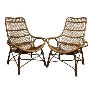 Palecek Rattan High Back Lounge Chairs - a Pair For Sale