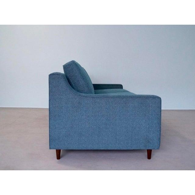 Original Mid-Century Modern Reupholstered Tweed Sofa - Image 7 of 11