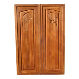 Large French Art Deco Carved Doors For Sale
