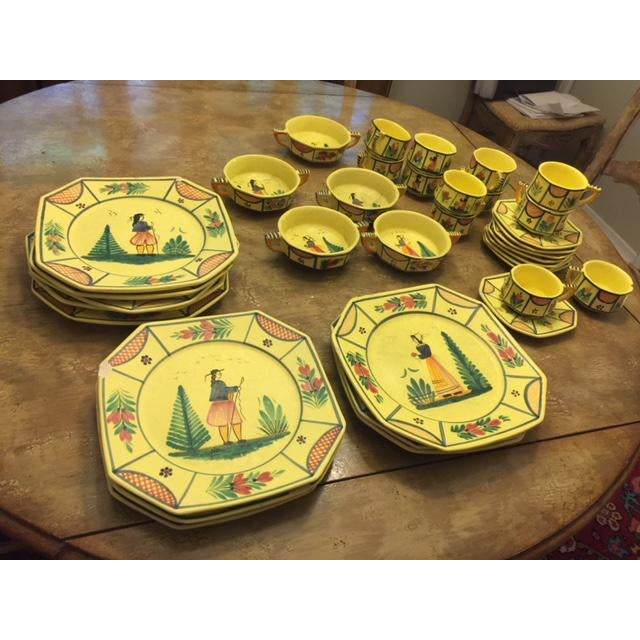 Yellow Quimper Pottery Dinnerware - 36 Pieces For Sale - Image 10 of 10