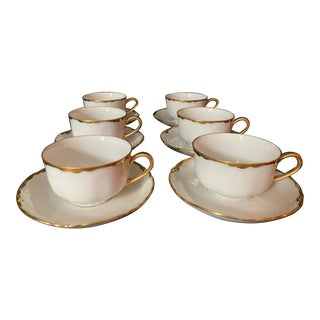 Hutschenreuter White Porcelain and Gold Cup and Saucers - Set of 6 For Sale