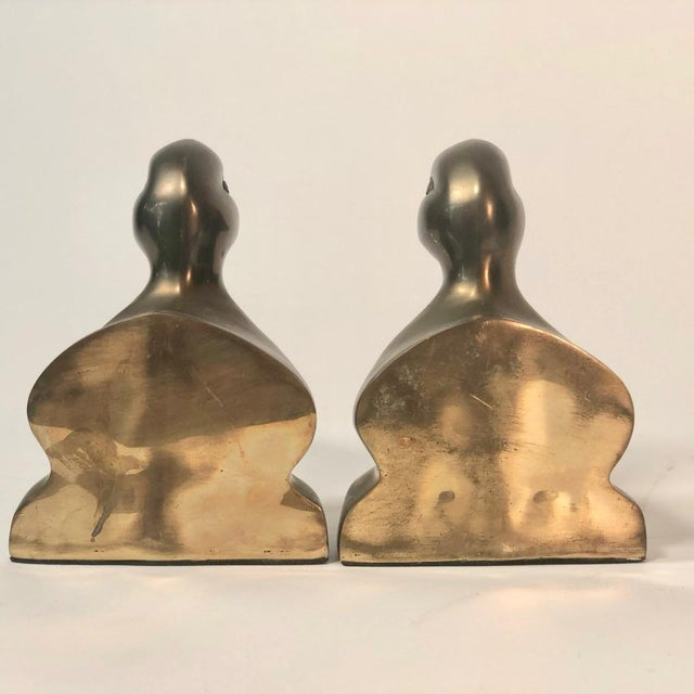 Rustic Vintage Brass Mallard Duck Head Bookends - a Pair For Sale - Image 3 of 7