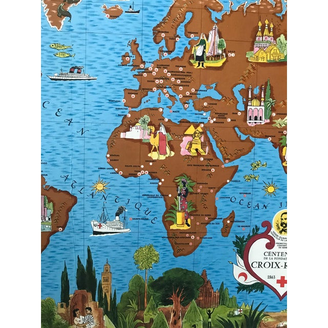 Black 1963 Illustrated Vintage World Map, Centenary of Red Cross (Croix Rouge, 1863 - 1963) For Sale - Image 8 of 9
