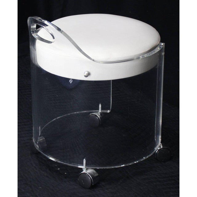 Round Bent Lucite Upholstered Bench Stool on Wheels For Sale In New York - Image 6 of 10