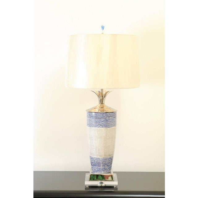 Modern Exquisite Pair of Handmade Portuguese Ceramic Vessels as Custom Lamps For Sale - Image 3 of 11