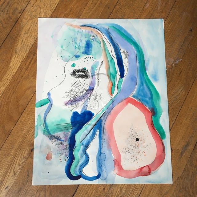 Abstract mixed media (watercolor and ink) on paper. Originally purchased from a sale at the Westbeth artist community in...