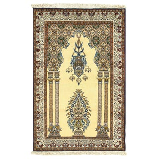Pasargad Ivory Persian Wool & Silk Qum - 3' X 5' For Sale