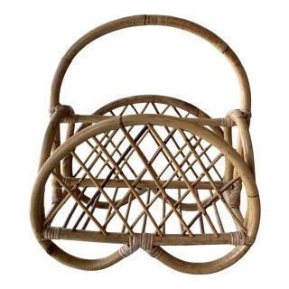 Vintage Pretzel Rattan Bamboo Magazine Rack Holder For Sale