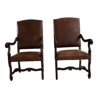 Vintage French Os De Mouton Style Italian Leather Arm Chairs - a Pair For Sale
