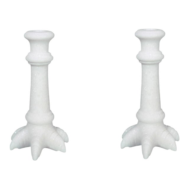 Crocodile Solid White Marble Candlestick Holder, Matching Pair For Sale