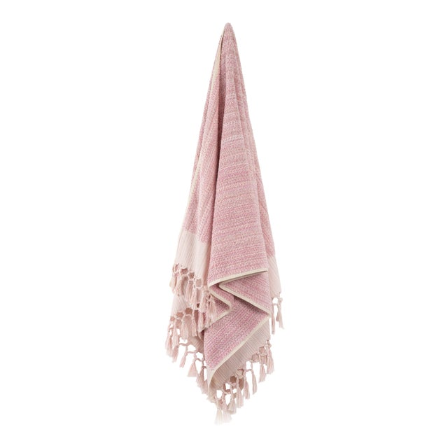Earth Lines Handmade Organic Cotton Towel in Pink For Sale