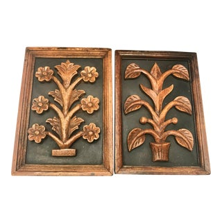 Vintage Boho Wooden Wall Plaques - a Pair For Sale