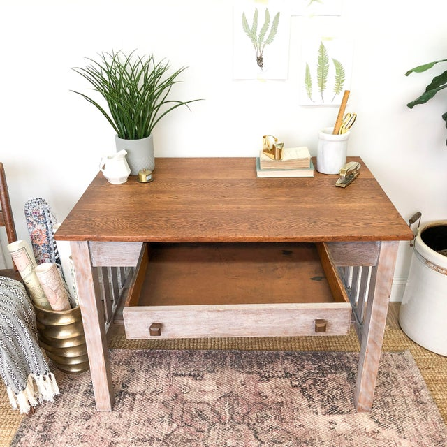 1900s Mission Solid Oak Writing Desk For Sale - Image 10 of 13