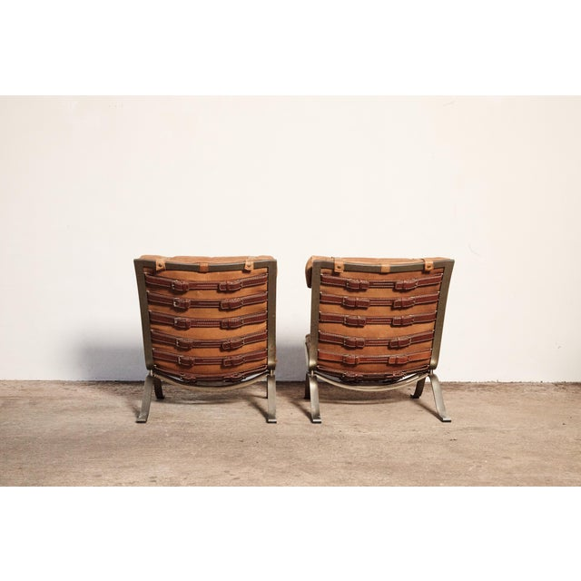 1970s Pair of Arne Norell Tan Leather Ari Chairs, Norell Mobler, Sweden, 1970s For Sale - Image 5 of 11
