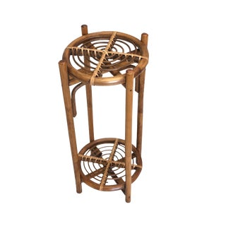 Vintage Wicker Bamboo Folding Plant Stand For Sale