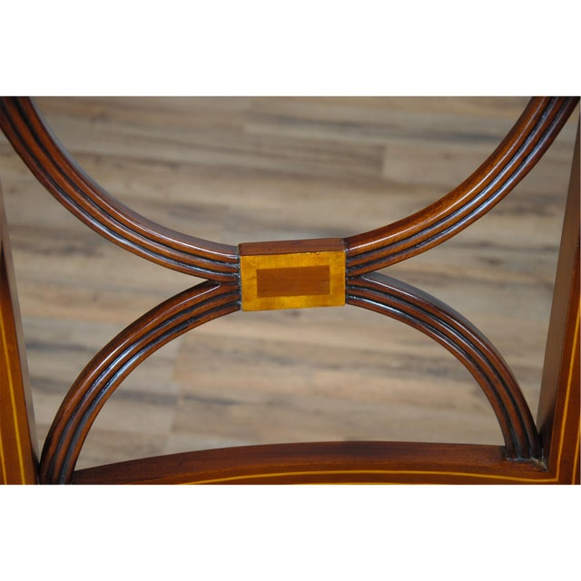 Sheraton Inlaid Mahogany Arm Chairs - A Pair For Sale - Image 4 of 9