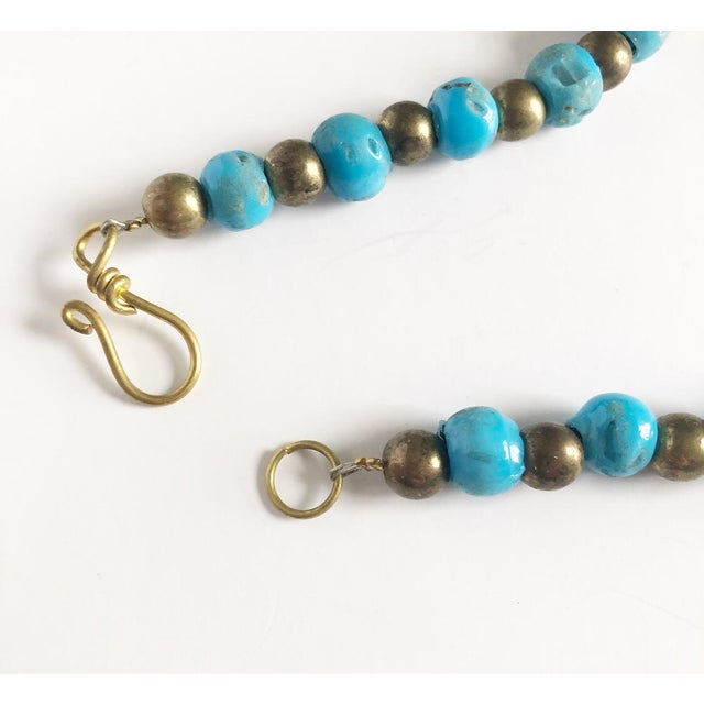 1980s Vintage Beaded Turquoise Style Necklace With Faux Gold Metal Coins For Sale - Image 5 of 11