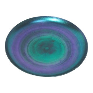 Tiffany Iridescent Blue Favrile Charger Center Piece Bowl For Sale