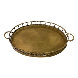 Hollywood Regency Style Faux Bamboo Tray For Sale