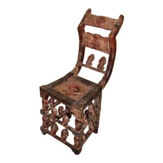 1940s Vintage Chokwe Figural Carved Wood Chair For Sale