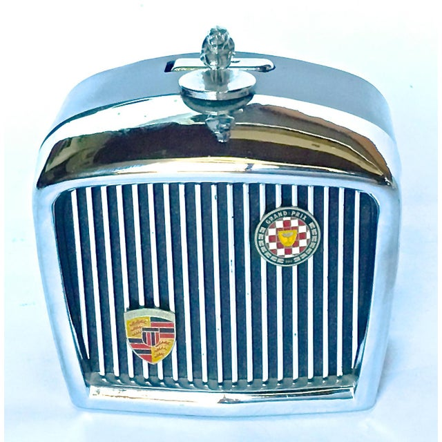 Vintage English Jaguar grill cigarette novelty lighter with flip-up wick when jaguar emblem is turned. Solid painted steel...