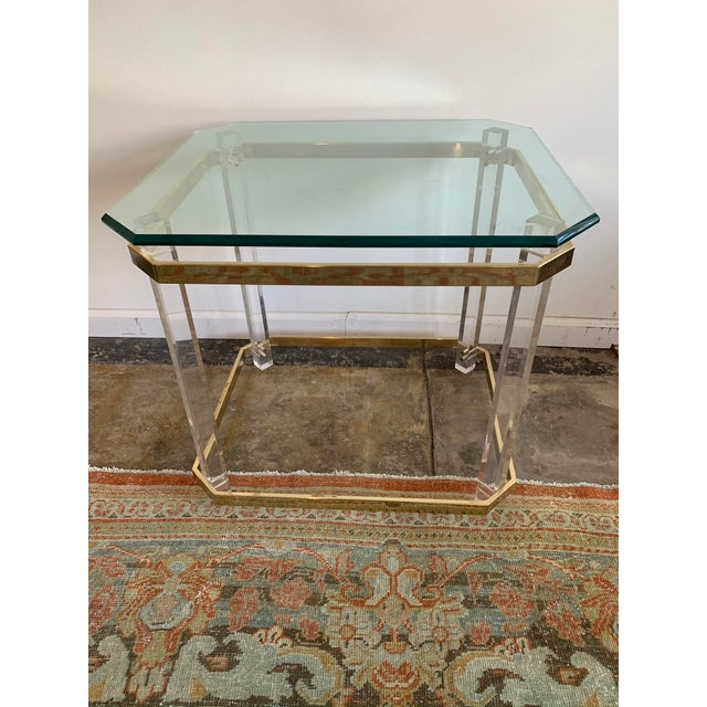 1970s Charles Hollis Jones Accent Table W/Lucite Legs & Glass Top For Sale - Image 9 of 9